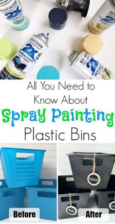 Awesome tips for spray painting plastic so the paint doesn't chip! I have spray painted many plastic bins, and the number 1 question I'm asked is whether the paint chips. I'm sharing all my tips on spray painting plastic. Painting Plastic Bins, Spray Paint Plastic, Diy Spray Paint, Spray Painting, Painting Tips, Painting Plastic Furniture, Chalkboard Spray Paint, Painting Art, Spray Paint Projects