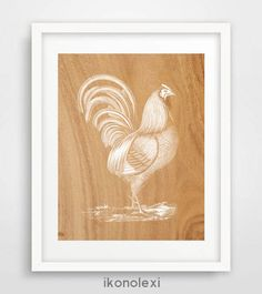 Rooster Art, Rooster Wall Art, Rooster Print, Rooster Poster, Rustic Wall Decor, Kitchen Wall Art, Vintage Rooster, Rooster Illustration by Ikonolexi on Etsy