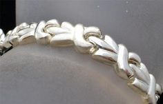 "Italian Sterling Silver High Polish Satin Estate Italy 7 3 4"" Bracelet Vintage   eBay"