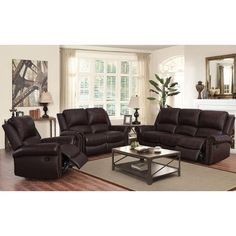 Reston Top Grain Leather Reclining Set Dark Brown or BurgundyTop Grain LeatherReclining Sofa, Reclining Loveseat and Reclining ChairAntique-Brass Nailhead TrimBy Abbyson Cheap Living Room Sets, Living Room Colors, Living Room Designs, Dark Brown Couch, Brown Couch Living Room, Don Diablo, Real Leather Sofas, Brown Furniture, Wood Furniture