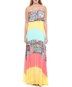 Another great find on #zulily! Coral & Yellow Patchwork Strapless Maxi Dress #zulilyfinds
