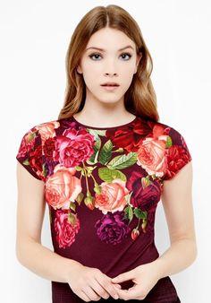 1cb8bcb26cc6b MELARNI Juxtapose Rose fitted Tshirt Beautiful Blouses
