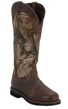 Justin® Stampede™ Men's Rugged Tan with Real Tree Camo Top Composite Toe Snake Proof Boots