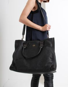 The large Mick shopper style bag from Matchless has a black grain leather outer with two top handles and a detachable across the body strap. Off Duty, Longchamp, Shoulder Bag, Tote Bag, Woman, Lady, Boots, Casual, Clothing