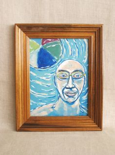 Swimmer Portrait, Male Portrait, Underwater Painting, Pool, Portrait, Portrait Painting, Water Painting, Portraiture, Original, Wil Shepherd
