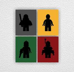 LEGO Star Wars Silhouette Stencil, Instant download, Boy Room Playroom Decor Art, Set of 4, 8x10