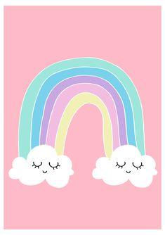 Baby Room Art, Nursery Wall Art, Girl Nursery, Nursery Decor, Kids Room Art, Rainbow Nursery, Rainbow Room, Rainbow Cloud, Tableau Design