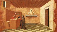 PAOLO UCCELLO - Leggenda dell'Ostia profanata (predella della pala del Corpus Domini) Urbino, Galleria nazionale delle Marche