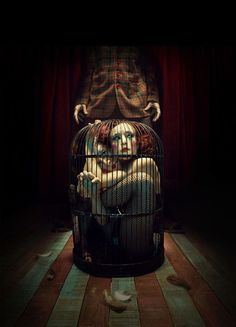 Two birds in a cage. Dark Circus, Circus Art, Circus Theme, Dark Fantasy Art, Dark Art, Circus Aesthetic, Pose Reference Photo, Night Circus, Surrealism Painting