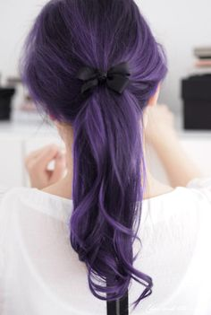 nudityandnerdery:    gabtron:    oh my god how do people achieve such awesome colors    Purple hair can be hard to pull off, but I adore it so.