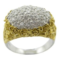 Beautiful Rose 18k Gold Plated White CZ Ring