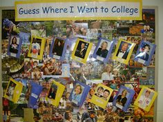 """This """"Guess Where I Went to College"""" bulletin board uses pictures of celebrities/individuals students are familiar with and highlights the colleges they went to. Could also work with pictures of teachers/staff at the school to spark conversation with students about the importance of going to college."""
