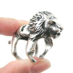 Large Lion Shaped Armor Joint Knuckle Animal Ring in Silver   Size 5 to 9 $12.50 #lions #cats #animals #jewelry #rings