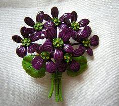 Posy of purple violets enamel on metal pin by MaggieTheTortoiseCat, $28.00