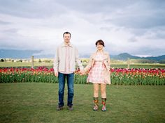 Colorful tulip field engagement: http://www.stylemepretty.com/little-black-book-blog/2014/07/28/colorful-tulip-field-engagement/ | Photography: http://alexandraknightphotography.com/