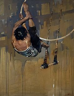 Costa Dvorezky {contemporary figurative art trapeze woman with areal hoop female #expressioniss dripst painting} Agile !!