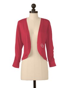 The University of Oklahoma Shirred Sleeve Bolero in Crimson