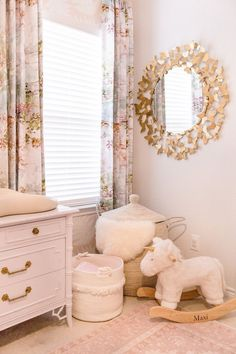 Maxi's Toddler Nursery. Baby girls nursery room decor and ideas. Inspiration for moms and dads. Find the perfect home decor items for your little ones room. Bring home to style and comfortable belongings.lLush pink, gold, and navy room decor. Nursery Room Decor, Nursery Design, Kids Bedroom, Nursery Ideas, Nursery Mirror, Toddler Room Decor, Project Nursery, Room Ideas, Gold Kindergarten