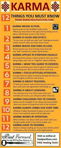 "KARMA This is very true.   Many use this word in a condescending manner.  It really is not presented in the way it was intended.  It's intention is with ""Love""."