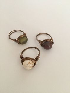 Wire Wrap Ring Set of 3