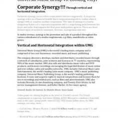 Universal Music Group vs. Cooking Vinyl Corporate Synergy!!! Through vertical and horizontal integration. Corporate synergy occurs when corporations interac. http://slidehot.com/resources/case-study-umg-vinyl.20068/