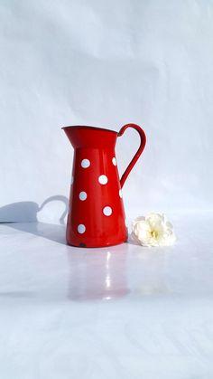 French enamel polka dots pitcher / Water pitcher par BrocBalk