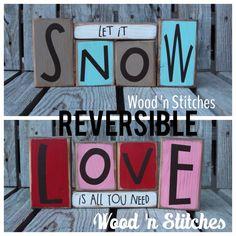 Reversible snow love primitive wood winter by jodyaleavitt on Etsy
