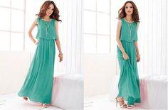 Stylish Candy Solid Full Length Casual Women Chiffon Long Tube Dress 2 Colors