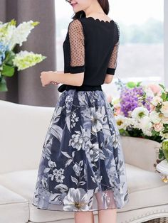 Scallop Neck T-Shirt And Hollow Out Floral Flared Midi Skirt