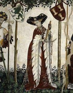 Noble lady, from Emperor, Knight and his Lady, 14th-15th century fresco International Gothic, Baronial Hall, Castle of the Princes of Saluzzo (4069-4845 / aa381031 © Art Archive, The) #SilhH