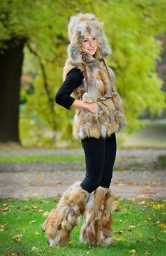 Fur Fashion Authentic Red Fox Fur pieces - ranch raised, incredibly popular fur & Red Fox Fur Boot Covers/Leg Warmers