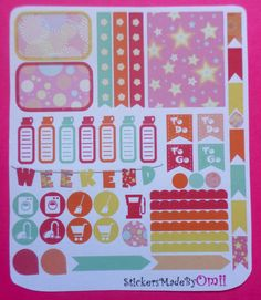 49 pcs Weekly Spread Planner Stickers / Labels Matte Colorfull  - fit to EC Planner, other Life Planner, Scrapbook