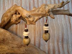 Round horn and buffalo bone earrings. by ValleyWWKing on Etsy