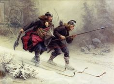 Soldiers for the Norwegian King Sverre, Torstein Skevla and Skjervald Skrukka carrying the king's son Hakon Hakonsson, 1869 (oil on canvas)