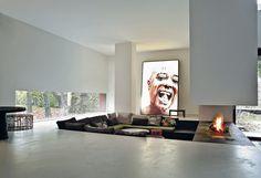 conversation pit, fireplace. Patrizia Moroso House