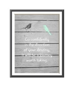 Typography Art Print Gray Wood Mint Birds by LilysNurseryShop, $10.00