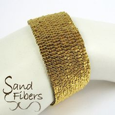 Gold Peyote Bracelet by SandFibers on Etsy
