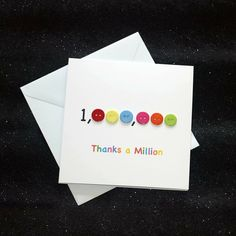 Thanks a Million Card Thank You Cards From Kids, Handmade Thank You Cards, Handmade Birthday Cards, Happy Birthday Cards, Greeting Cards Handmade, Teachers Day Card, Teacher Thank You Cards, Teacher Gifts, Homemade Greeting Cards