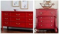 decorating with red (red painted dressers are always a favorite) Thrift Store Furniture, Paint Furniture, Furniture Makeover, Red Dresser, Best Paint Colors, How To Antique Wood, Finding A House, Furniture Inspiration, Painted Dressers