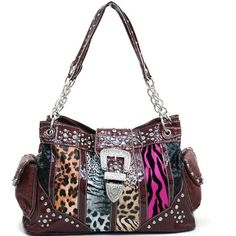 Rhinestone Studded Multi-Animal Print Shoulder Bag w/ Buckle Accent... ❤ liked on Polyvore