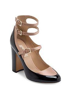ec35ea0542d6 Valentino Garavani - Multi-Strap Patent Leather   Satin Block Heel Pumps