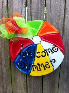 Beach Ball Wooden Door Hanger Summer by Earthlizard on Etsy, $40.00