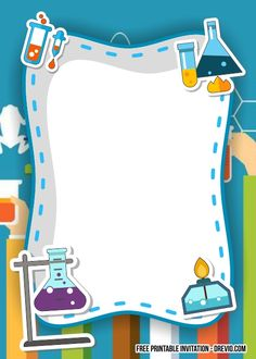 Free FREE Science Party Birthday Invitation Templates #free #freeinvitation2019 #birthday #disney #invitations #invitationtemplates Minecraft Birthday Invitations, Free Birthday Invitation Templates, Disney Invitations, Science Party, Science Fair, Science Lab Decorations, Pop Stickers, School Frame, Decorate Notebook