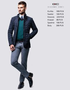 Stylizacja Giacomo Conti: pikowana kurtka Leonardo 2 14/66 LK, sweter Cesare 14/101 SR, koszula Michele 14/08/28, spodnie Federico slim 14/37 T, skórzane sztyblety. #giacomoconti