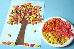 How to make colored pumpkin seed art Recycled Crafts Seed Art For Kids, Seed Crafts For Kids, Easy Toddler Crafts, Thanksgiving Crafts For Kids, Autumn Crafts, Paper Crafts For Kids, Preschool Crafts, Pumpkin Seed Crafts, Halloween Crafts To Sell