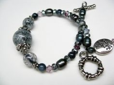 Black Crackle Glass Bracelet freshwater pearls by OneBlueDragonfly, $25.00