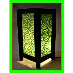 Green table lamp wood, Bedside lamp, Table lamp shade, Night light, Floor lamp, Mid century lamp desk for home decor & garden decor, TBM06