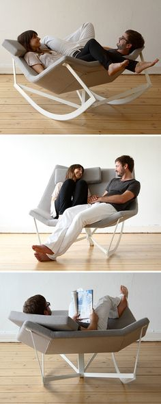 Sway is a rocking chair with a padded seat and a steel rack. The shape of the seat enables many-sided use even in pairs. The telescope mechanism locates the rocking chair in an easy chair position. By Markus Krauss. Cool Furniture, Furniture Design, Paint Furniture, Modern Furniture, Deco Design, Take A Seat, Cool Chairs, Chair Design, Diy Furniture