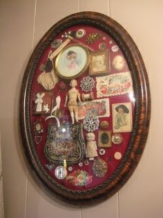 """An old frame turned into a shadow box of memories. I know I have a lot of little """"junks"""" to fill up one or two of my old frames:) Diy And Crafts, Arts And Crafts, Do It Yourself Inspiration, Deco Originale, Old Frames, Assemblage Art, Vintage Crafts, Displaying Collections, Altered Art"""