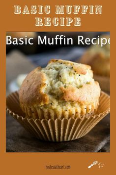 A good muffin recipe makes a great side to a cup of soup or a stand-alone breakfast with a cup of coffee. This basic muffin has 8 variations to make it your own and it's easy enough for the kiddos to make! Best Muffin Recipe, Basic Muffin Recipes, Basic Cupcake Recipe, Basic Muffin Recipe With Oil, Vanilla Muffin Recipes Easy, Brunch Recipes, Breakfast Recipes, Dessert Recipes, Pastries
